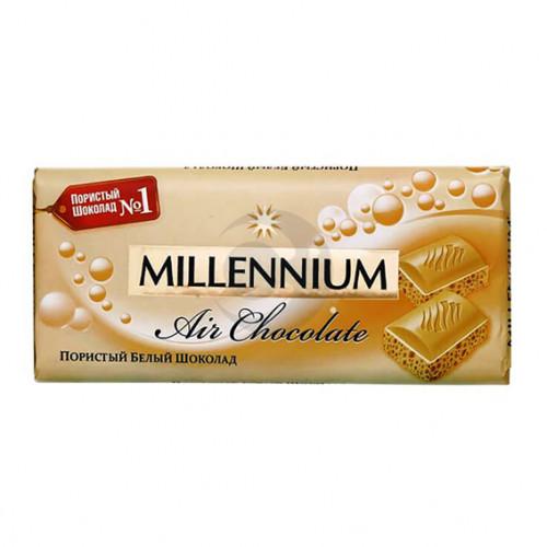 Шоколад Міленіум 090г пористий білий
