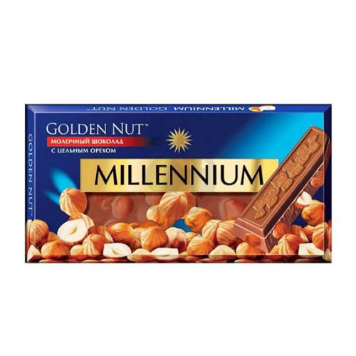 Шоколад Міленіум Голд 100г молочний цілий горіх Рейнфорд