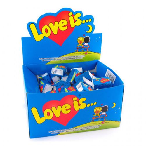 Жувальна гумка Love Is ПОЛУНИЦЯ І БАНАН 100 шт/бл