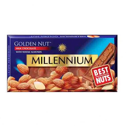 Шоколад Міленіум Голд 100г молочний цілий МИГДАЛЬ Рейнфорд
