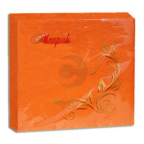 Салфетки столовые 2-х слойные 33 * 33 ТМ Алсу-Пак Оранжевые