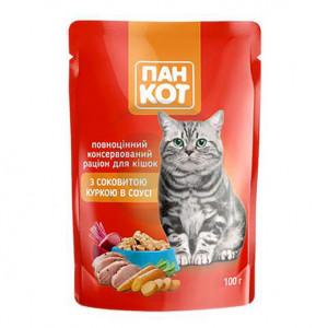 Корм для котов ПанКот С сочной Курицей в соусе 100гр