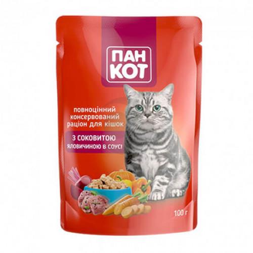 Корм для котов ПанКот С сочной Говядиной в соусе 100гр