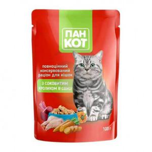 Корм для котов ПанКот С сочным Кроликом в соусе 100гр