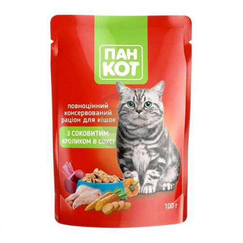 Корм для котів ПанКот З соковитим Кроликом в соусі 100гр