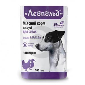 Влажный корм для собак Леопольд Premium с птицей в соусе 100г