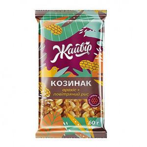 Жайвир Козинак 60г с Арахиса с воздушным рисом»