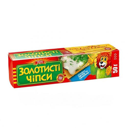 Чіпси картопляні 50г «Золотисті» зі смаком Кропу та Сметани