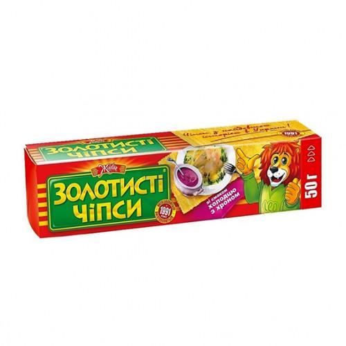Чіпси картопляні 50г «Золотисті» зі смаком Холодцю з Хроном