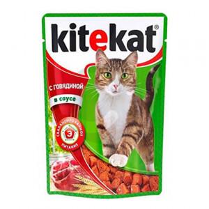Корм для кошек Kitekat с говядиной в соусе 100 г