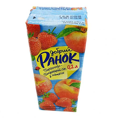 Сік Ранок 0,2л персиково-полуничний з мякоттю