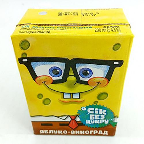 Сок Sponge Bob 0,2л яблочно-виноградный