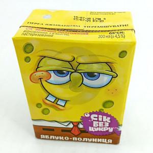 Сок Sponge Bob 0,2л яблочно-клубничный