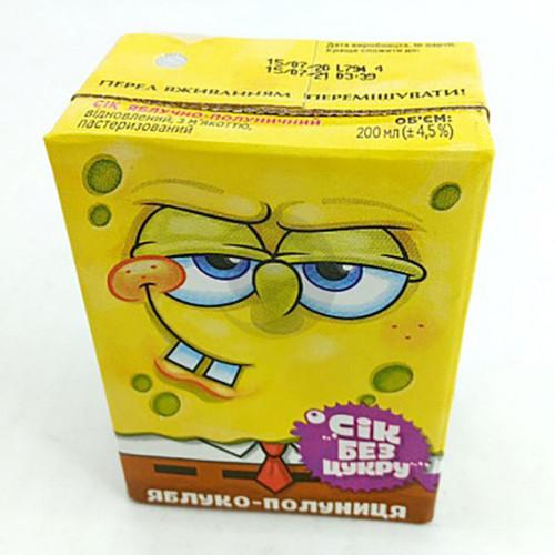 Сік Sponge Bob 0,2л яблучно-полуничний